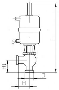 Клапан седельный тип NL (резьба-резьба) с пневмоприводом