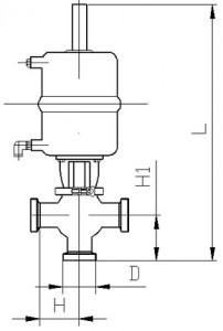 Клапан седельный тип NT (резьба-резьба) с пневмоприводом
