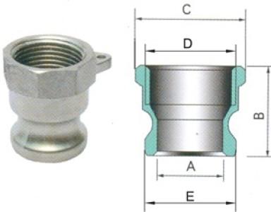 Универсальное самоблокирующееся быстроразъемное соединение КАМЛОК (CAM-LOCK), тип А, штуцер с внутренней резьбой