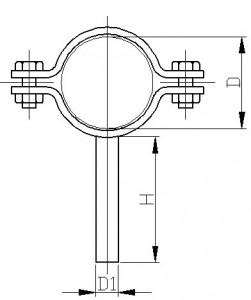 Крепление трубопровода с держателем