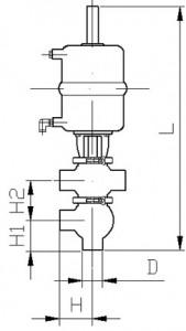 Клапан двухседельный тип KE (сварка/сварка) с пневмоприводом