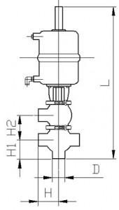 Клапан двухседельный тип KF (сварка/сварка) с пневмоприводом