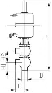 Клапан двухседельный тип KH (сварка/сварка) с пневмоприводом