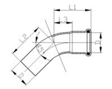Отвод 45° однораструбный